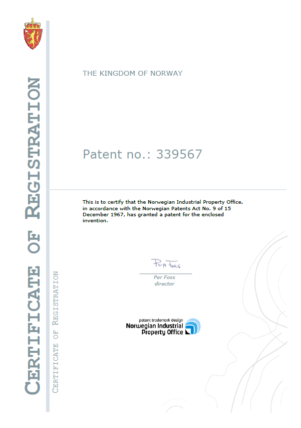 Patent 1 Certification